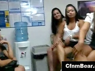agency girls lick cfnm stripper at cfnm office