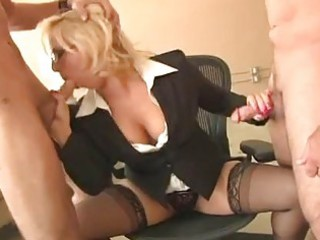 nasty pale mature with glasses licks two