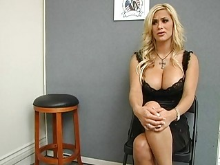 aubrey angelic blond lady pushing dildo and