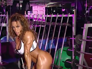 bodybuilder aged into training center with high