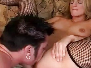 pale with gangbanged tits into fishnet nylons