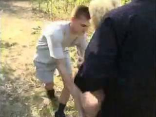 blond raped by two mans into the forest