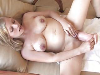 larissa slutty pregnant blond babe playing cave