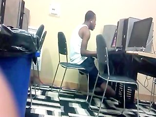 Dude Jacking Off in Public Computer Lab -