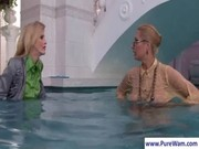 Lesbians gets wild in the pool