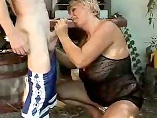 cougar duo fucking in the back yard