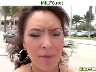 lady seeker picks up fresh brunette woman and