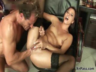 horny assistant bitch stretching part2