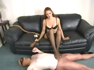 red-haired inside pantyhose penis female-dominator