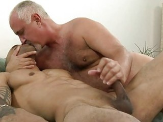 sweet tattooed gay giving handjob to his elderly