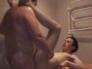 plump gay daddy slamms twinks taut arse into bath