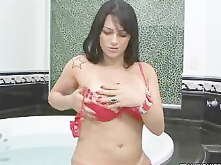 butt butt tranny stripping off her yellow lingerie