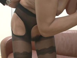 german hairy old cougar in ebony gstring triple