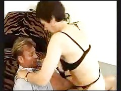granny into ebony stockings and lingerie bangs