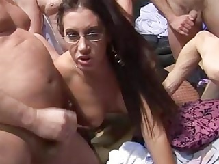 3 sluts have a grownup young group sex