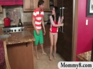 stepmom milf busts teenager duo gangbanging into