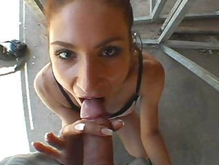 filthy brunette with sweet chest gives mouth fuck