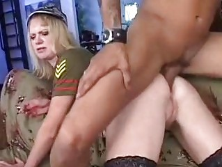 blond slut into military uniform and pantyhose