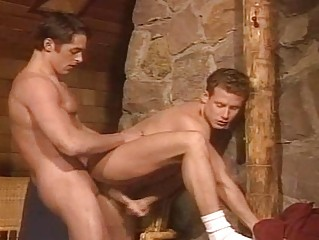 two hunky fuckers are tongue kissing before