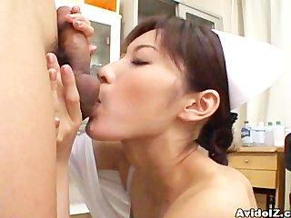 Horny Nurse Riko Tachibana big blowjob with cum