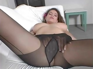 beauty pushing dildo inside darksome hose