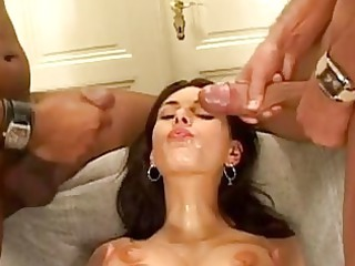 horny slut anita queen gets her mug covered with