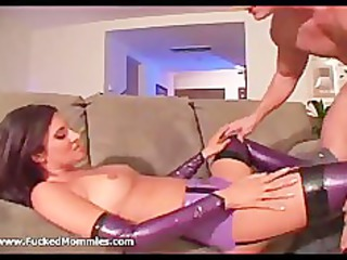 brunette milf in latex lingerie lick and fuck