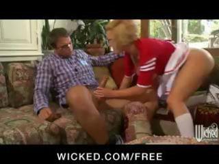 naughty institute cheerleader slurps his dick and