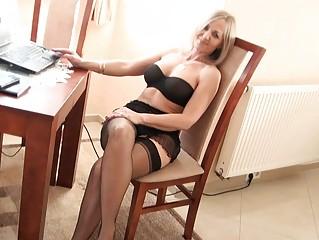 extremely impressive blond lady inside ebony