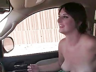 inexperienced girl jerks off in the car