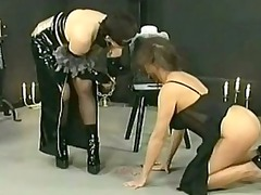 busty slave cleaning up had spanked on her arse