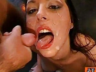 bukkake brunette gets facial