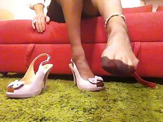 filled style stockings, slingback heels, skinny