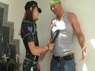 Sexy shemale cop caught dirty muscle man