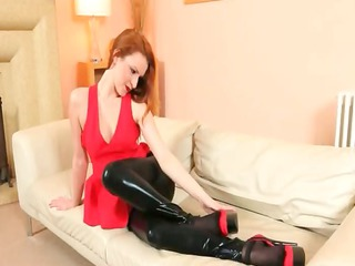 subtle brown nylons and redhead go naked