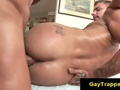 muscle gay boys doing bottom with some lube