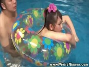 Japanese slut gets fucked in the pool
