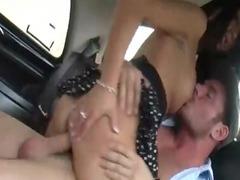 two buddies twice sperm hawt bitch into the car -