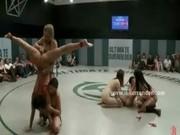 Wild nasty lesbians fuck after wrestling