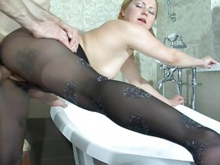 fat blonde in nylons acquires nailed doggy