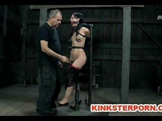 bdsm slave elise graves chained whipped electro