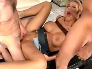 single bleached fucking with two hard penises