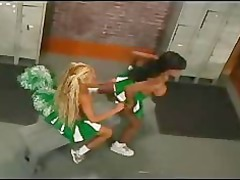 strapon cheerleaders into locker house