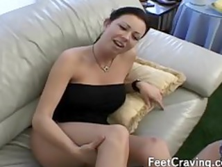 babe gives a footjob and gets gangbanged
