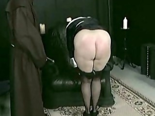 slutty nun slave is spanked on her large anal and