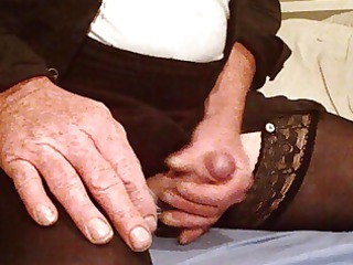 wanking into nylons and light red underwear