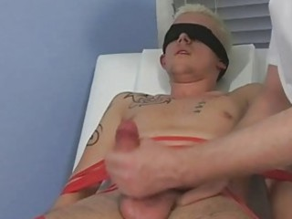 tied and blindfolded blond twink acquires his