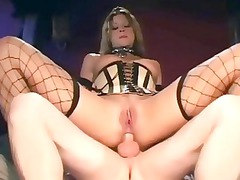 sex into a corset sexy galoshes and fishnet nylons